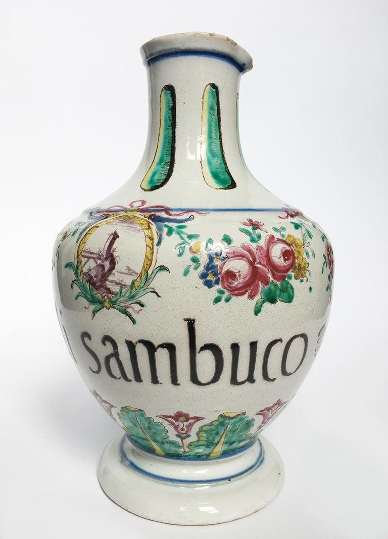 18th Century Pair of Italian Maiolica Pharmacy Flasks Milano, circa 1770-1780 For Sale 6
