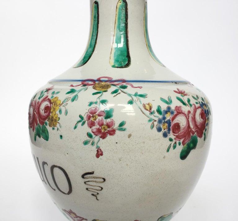 18th Century Pair of Italian Maiolica Pharmacy Flasks Milano, circa 1770-1780 For Sale 8