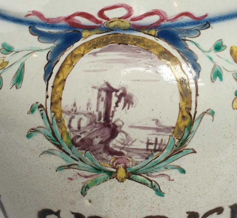 18th Century Pair of Italian Maiolica Pharmacy Flasks Milano, circa 1770-1780 For Sale 14