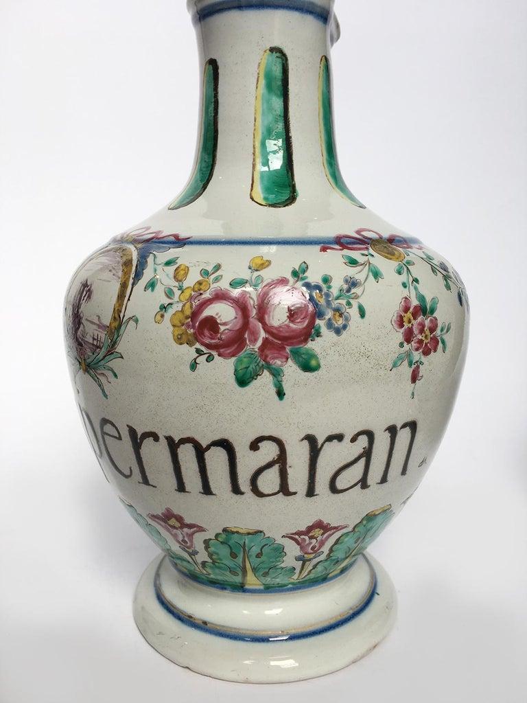 Neoclassical 18th Century Pair of Italian Maiolica Pharmacy Flasks Milano, circa 1770-1780 For Sale