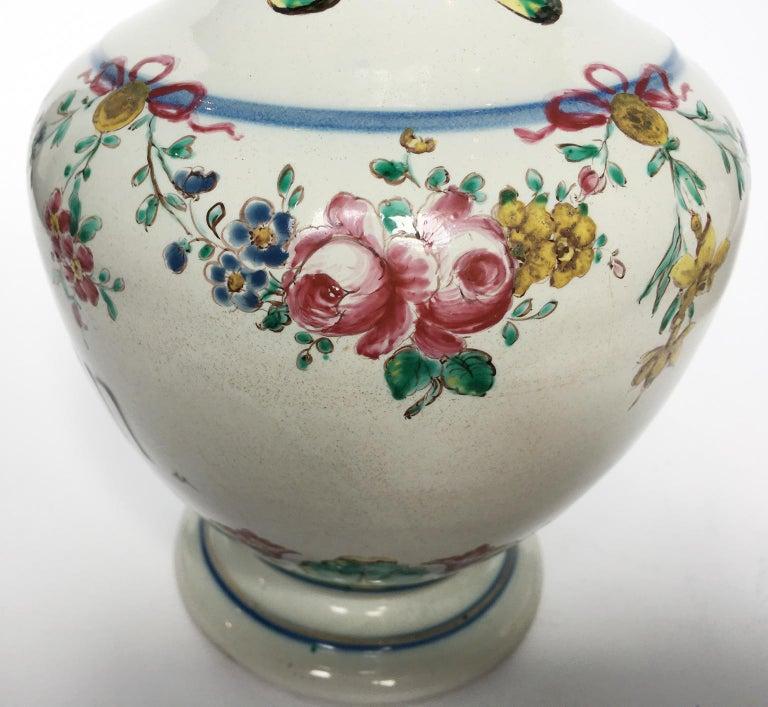 Glazed 18th Century Pair of Italian Maiolica Pharmacy Flasks Milano, circa 1770-1780 For Sale