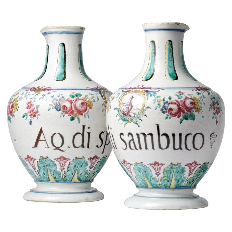 18th Century Pair of Italian Maiolica Pharmacy Flasks Milano, circa 1770-1780 For Sale