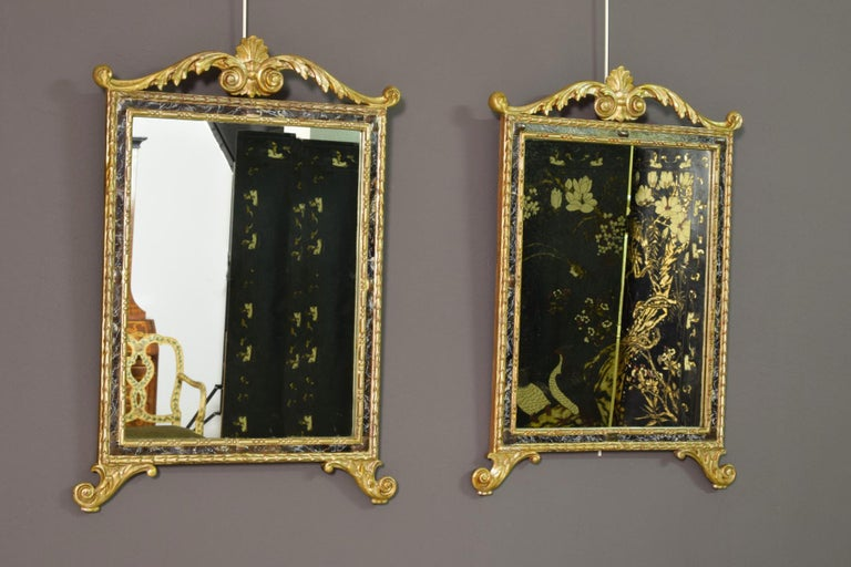 18th century, pair of Italian neoclassical carved and giltwood mirrors Size H 70 x W maximum 50 x W 43.5 frame x D 3.  The pair of delightful mirrors was made in south of Italy (Sicily) in the neoclassical period, towards the end of the 18th