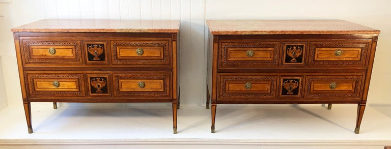 18th Century Pair of Italian Neoclassical Commodes with Bookmatched Marble Tops For Sale 8