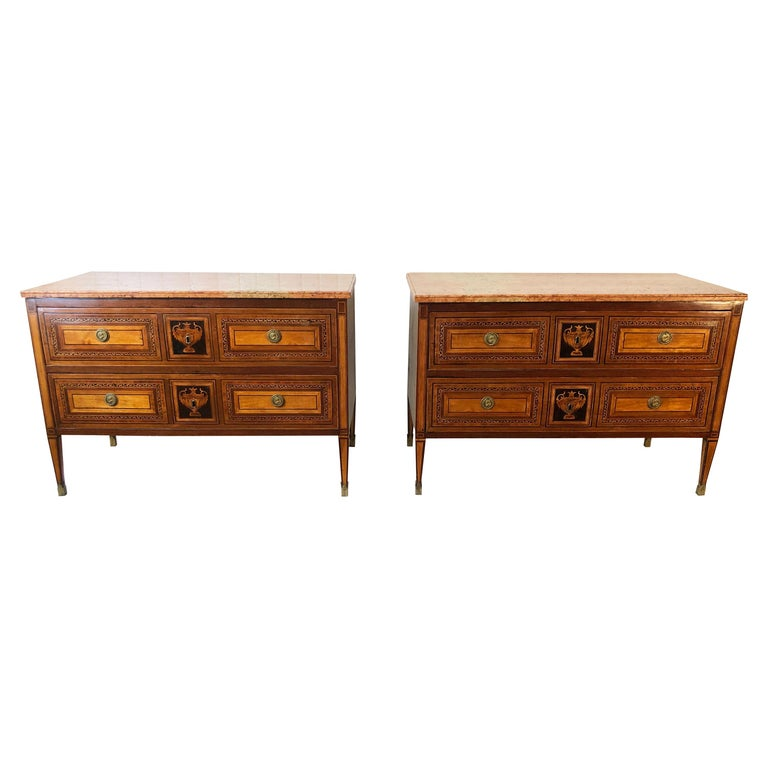 18th Century Pair of Italian Neoclassical Commodes with Bookmatched Marble Tops For Sale