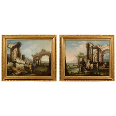 18th Century, Pair of Italian Paintings, Landscapes with Ruins by Gaetano Ottani