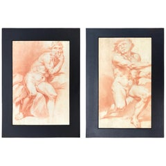 18th Century Pair of Italian Sanguine Drawings after Procaccini Male Nude