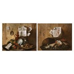 18th Century Pair of Italian Paintings Still Life Trompe L'Oeil Vision Jokes