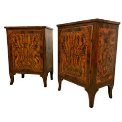 18th Century, Pair of Italian Walnut Wood Bedside Tables