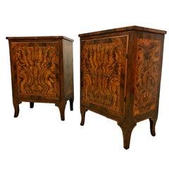 18th Century, Pair of Italian Walnut Wood Bedside Tables