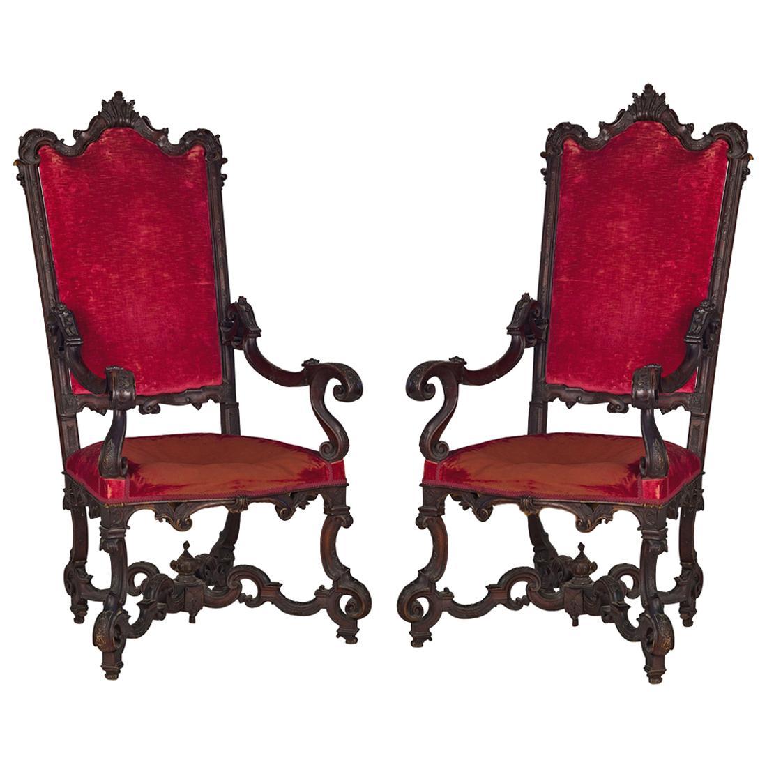 18th Century Pair of Italian Wood Armchairs