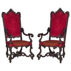 18th Century Pair of Italian Wood Armchairs