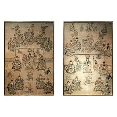 18th Century Pair of Large Chinese Paintings on Paper with Gilded Wooden Frame