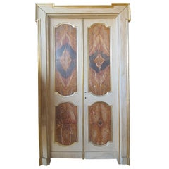 18th Century Pair of Large Doors Wood with Sicilian Jasper Marble