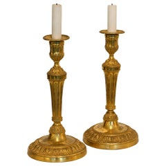 18th Century Pair of Louis Seize Gilt Bronze Candlesticks, French, circa 1780