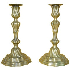18th Century Pair of Louis XV Bronze Candlesticks