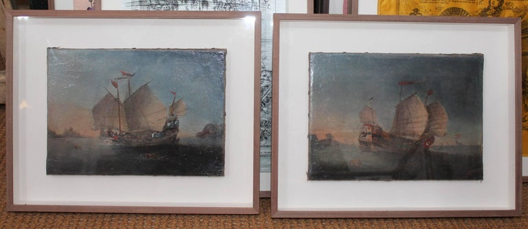 Pair of 18th century marines depicting two period boats in Hong Kong's harbour.   Measurements of painting: 27 x 19.5 cm.