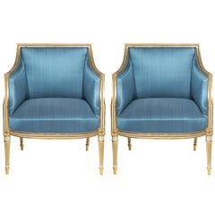 18th Century Pair of Neoclassical Cream Painted Armchairs in Blue Silk