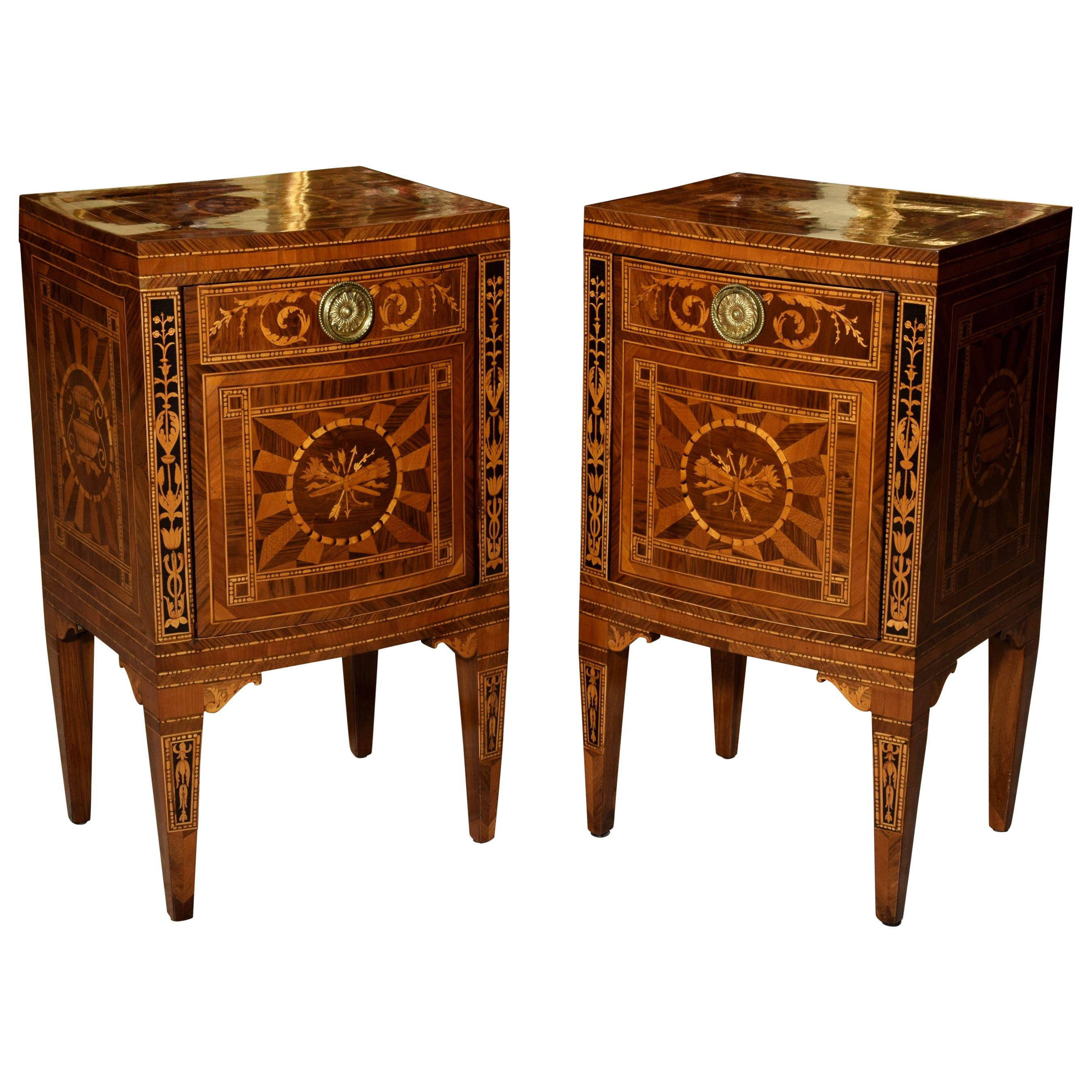 18th Century, Pair of Neoclassical Italian Inlaid Wood Bedside Tables