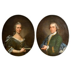 18th Century, Pair of Oval Italian Oil on Canvas Portraits