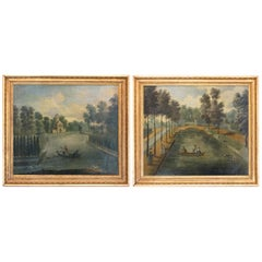 18th Century Pair of Paintings Oil on Canvas English Park Landscape