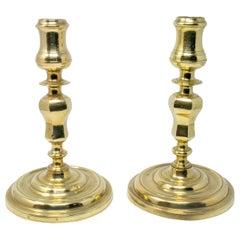 18th Century Pair of Spanish Bronze Candleholders