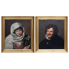 19th Century Pair of Spanish Murillo School Oil on Canvas Portraits