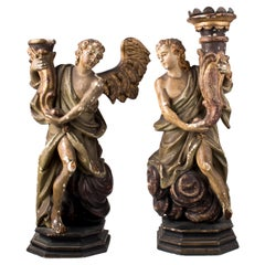 18th Century Pair of Spanish Torch Holder Angel Gold Gilded Wooden Figures