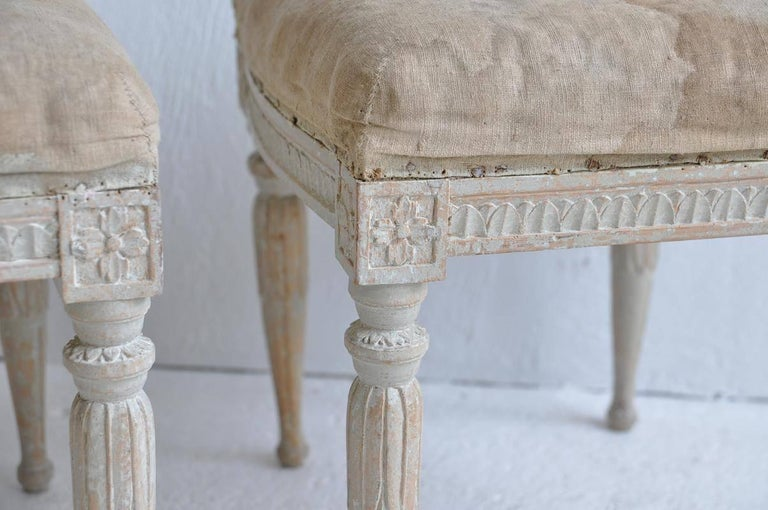 Hand-Crafted 18th Century Pair of Swedish Gustavian Period Signed Footstools from Stockholm For Sale