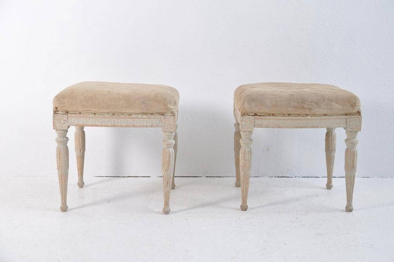 Pine 18th Century Pair of Swedish Gustavian Period Signed Footstools from Stockholm For Sale