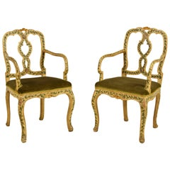 18th Century, Pair of Venetian Lacquered and Giltwood Armchairs