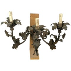18th Century Pair of Venetian Wrought Iron Wall Sconces