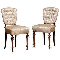 18th Century Pair Swedish Two Tone Neoclassical 'restored' Club Side Chairs