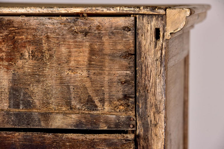 Brass 18th Century Pale Oak English Chest of Drawers on Stand For Sale