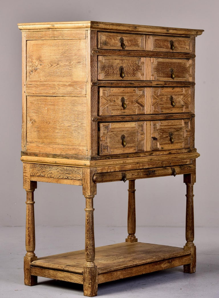 18th Century Pale Oak English Chest of Drawers on Stand For Sale 3