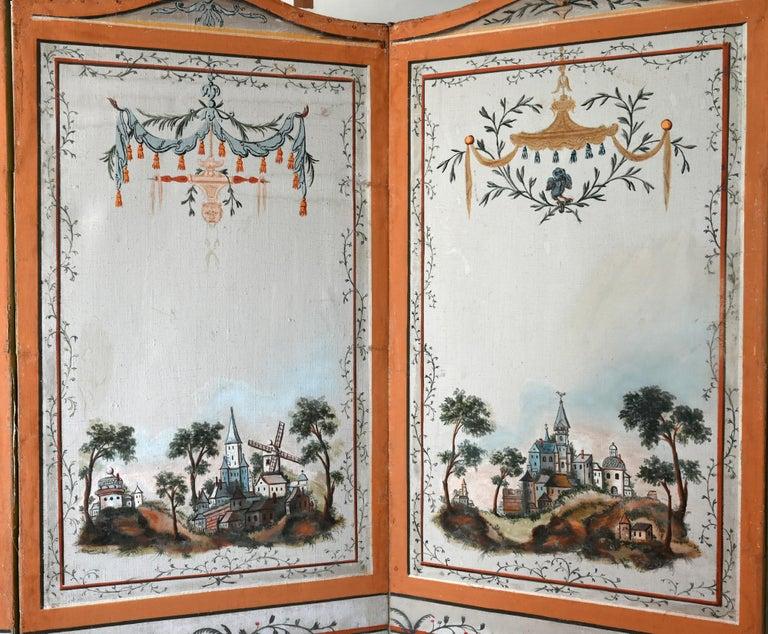 European 18th Century Paravent Screen France 1770 Original Painting For Sale
