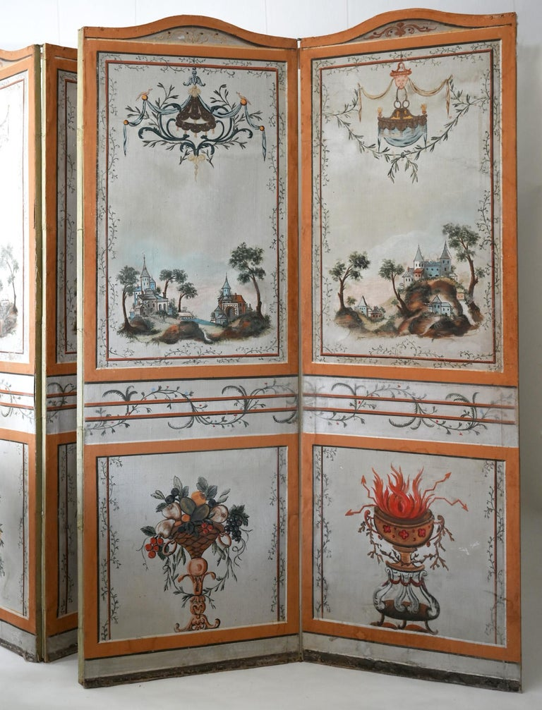 18th Century Paravent Screen France 1770 Original Painting For Sale 1