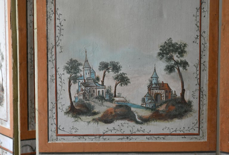 18th Century Paravent Screen France 1770 Original Painting For Sale 2