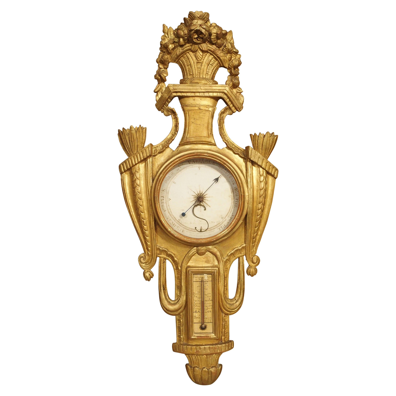 18th Century Parisian Giltwood Barometer Thermometer