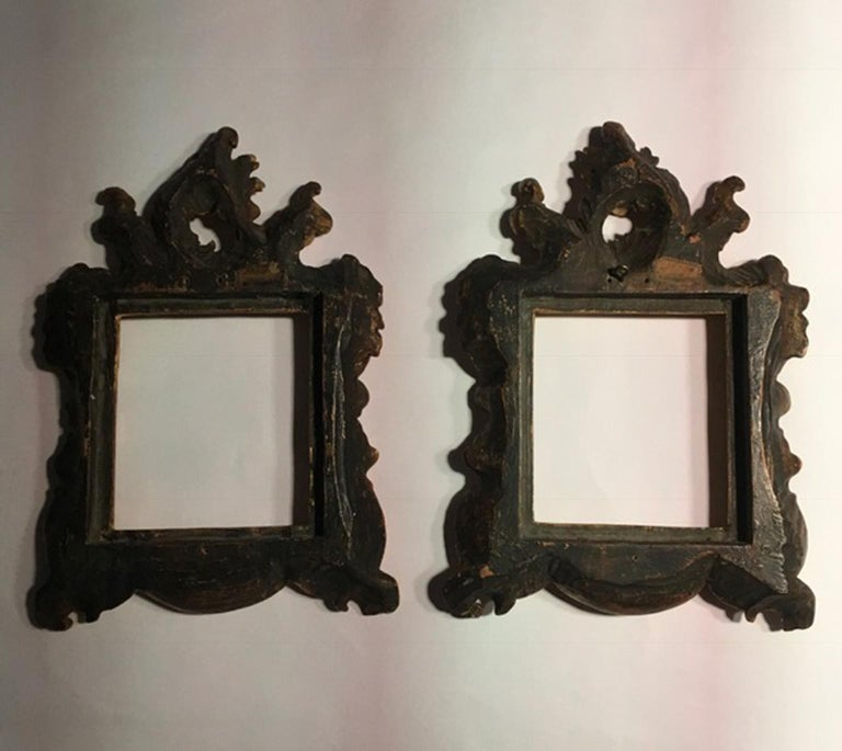 cff70e929c1 18th Century Patinated Gold Hand Carved Wood Pair of Frames Barocco Style