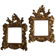 18th Century Patinated Gold Hand Carved Wood Pair of Frames Barocco Style, Italy