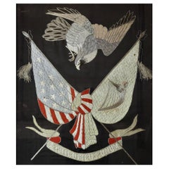 18th Century Patriotic Embroidery of American and Irish Flags