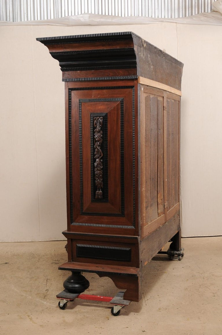 18th Century Period Baroque Kas Wardrobe Cabinet with Rich Carved Wood Details For Sale 4