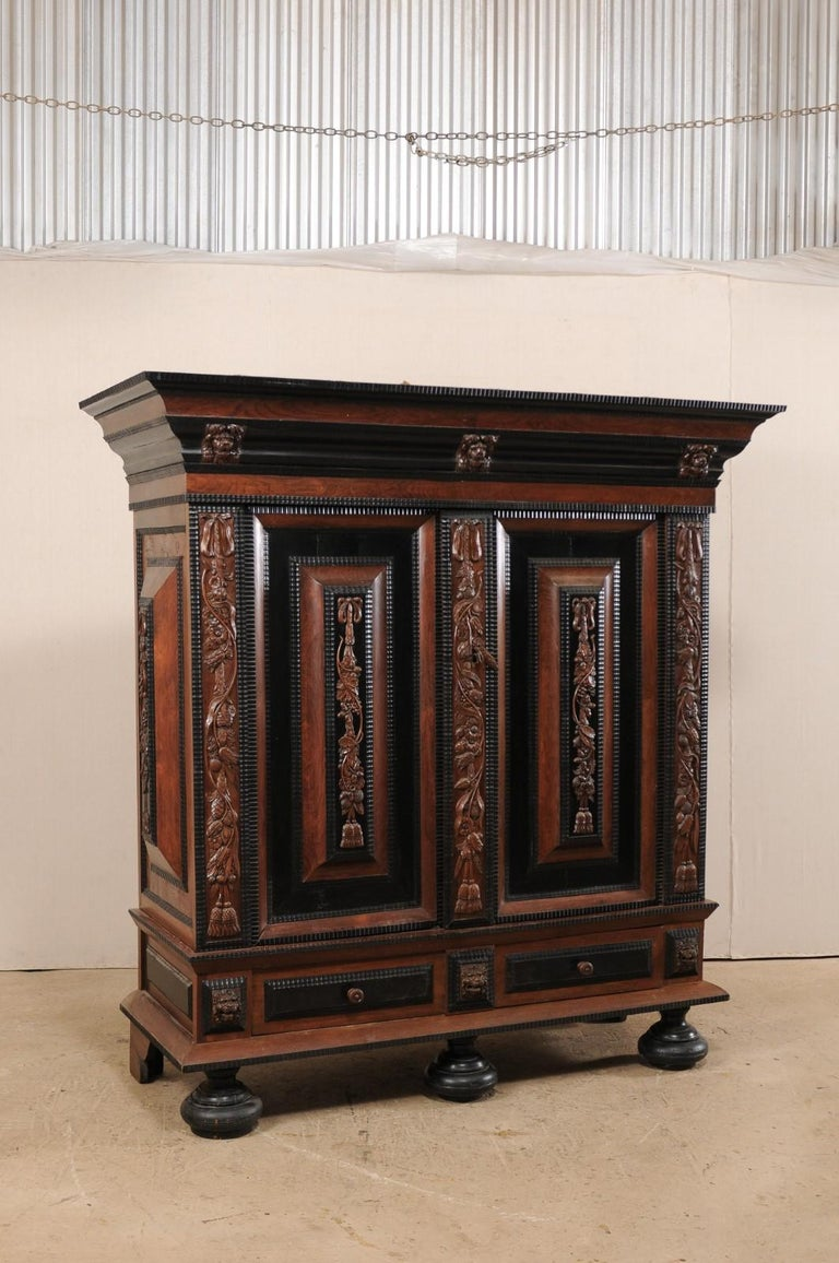 Swedish 18th Century Period Baroque Kas Wardrobe Cabinet with Rich Carved Wood Details For Sale