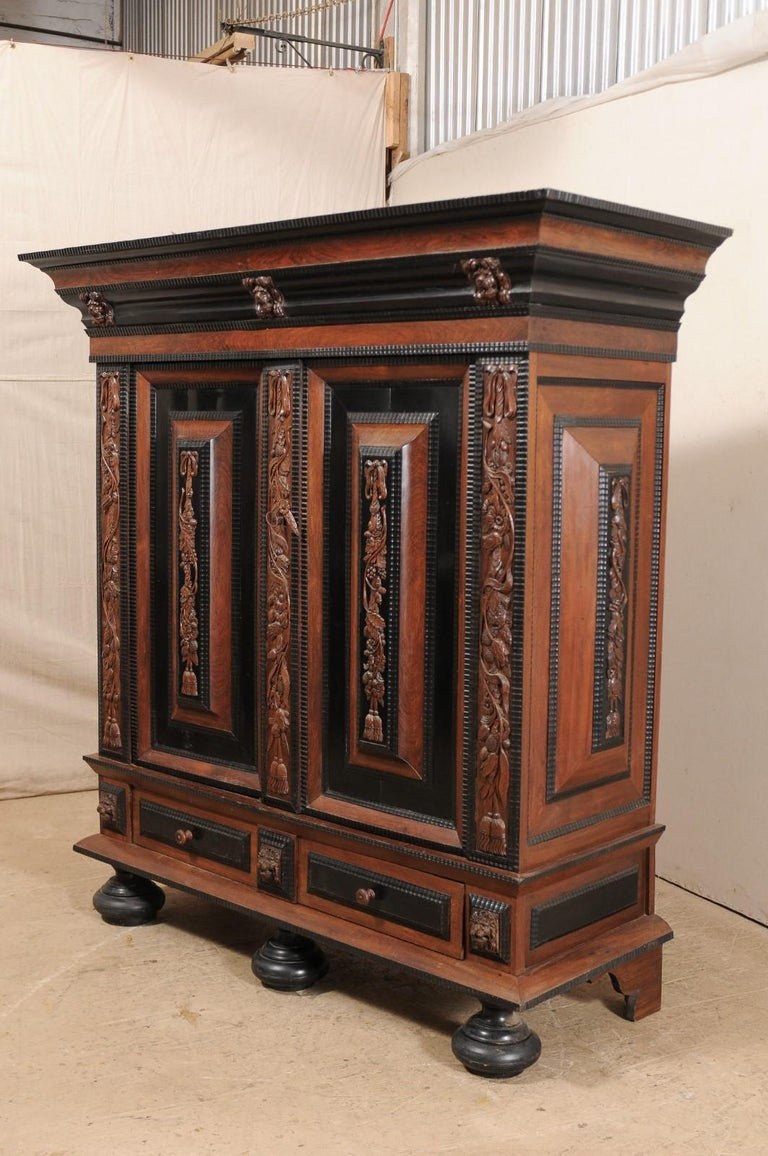 18th Century Period Baroque Kas Wardrobe Cabinet with Rich Carved Wood Details In Good Condition For Sale In Atlanta, GA