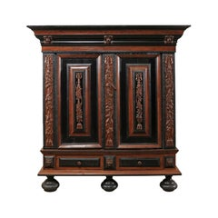 18th Century Period Baroque Kas Wardrobe Cabinet with Rich Carved Wood Details