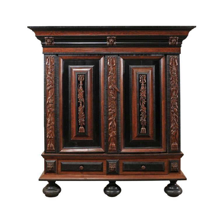 18th Century Period Baroque Kas Wardrobe Cabinet with Rich Carved Wood Details For Sale
