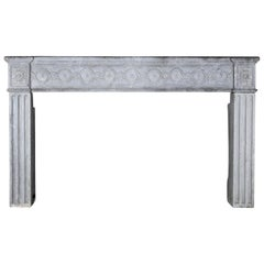 18th Century Period French Timely Grey Hard Limestone Fireplace Surround