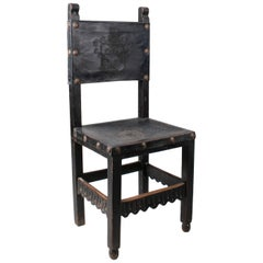 """18th Century Peruvian """"frailero"""" Leather Back and Seat Wooden Chair"""