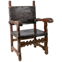 """18th Century Peruvian """"Frailero"""" Wooden Chair with Leather Seat and Back"""